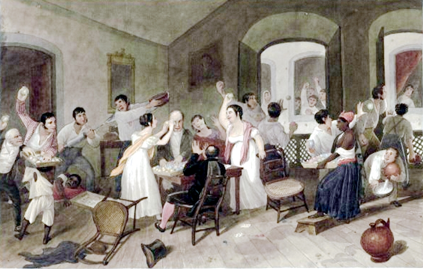 Jogos durante o entrudo no RJ-Augustus Earle 1822